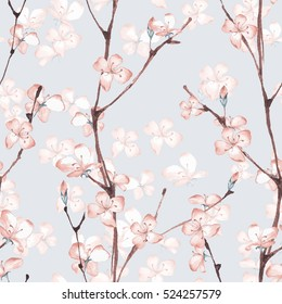 Blossom. Watercolor seamless floral pattern. Hand drawn background 7