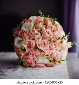 Blossoming bouquet of fresh flowers on the wedding day
