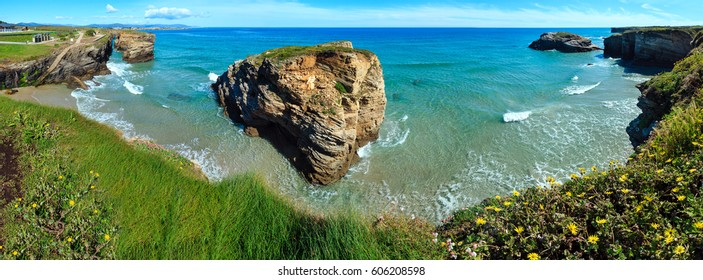 Blossoming Cantabric coast summer landscape (Lugo, Galicia, Spain). Three shots stitch  high-resolution panorama.