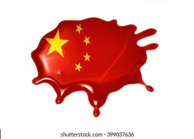 blot with national flag of china on the white background