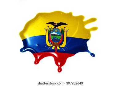 blot with national flag of ecuador on the white background