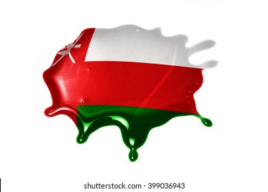 blot with national flag of oman on the white background
