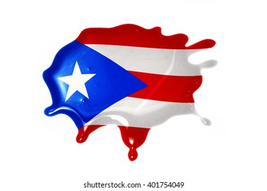blot with national flag of puerto rico on the white background.3D illustration
