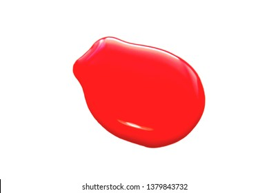 Blot of red nail polish isolated on white background.