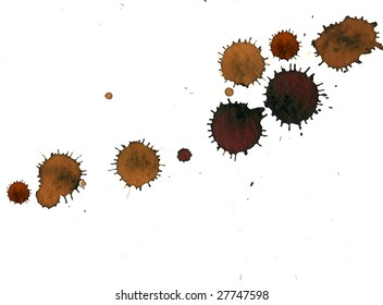 Blots of mud on white background