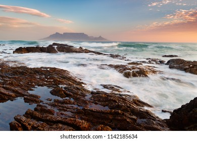 Blouberg beach. View to Table Mountain in the evening