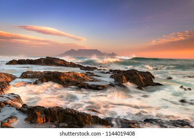 Blouberg Beach. View to Table Mountain in the evening. South Africa