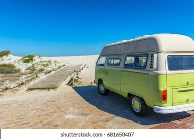 BLOUBERGSTRAND - CAPE TOWN, SOUTH AFRICA - JUNE 2017 - Cape Town Rustic surf beach van