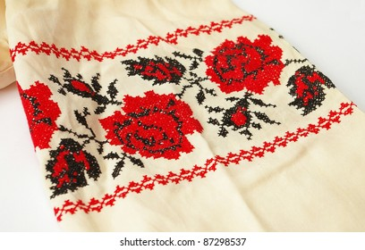blouse sleeve with ukrainian floral cross-stitch