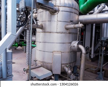 Blow down tank of boiler systems for common drain steam and water during normal operate or start up plant in Combined-Cycle Co-Generation Power Plant.