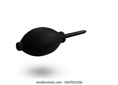 Blower Cleaner black color Silicone blower or Rubber Air Blower isolated on white background. This had clipping path.