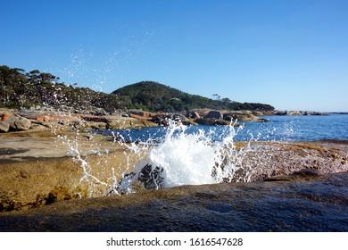 Blowhole at Bicheno beach, Tasmania, Australia