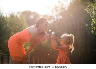 Blowing dandelions: Happy mother playing with her little baby girl daughter and having fun - Young caucasian white mom wearing summer bright vivid color dress - Happinness family concept