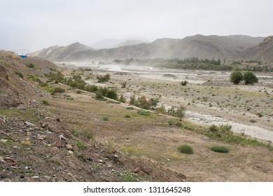 Blowing dust near Kucha, Xinjiang, China