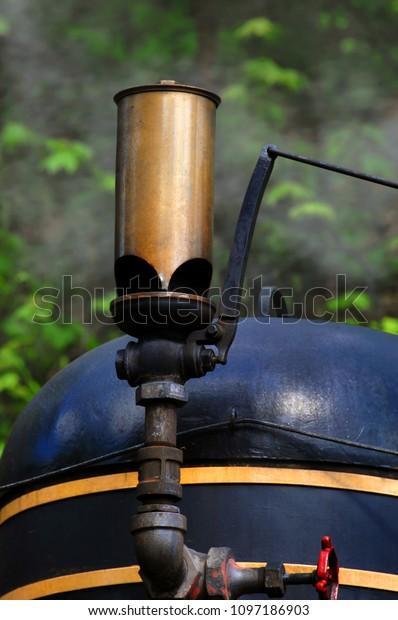 Blowing Train Whistle Throws Smoke Into Stock Photo (Edit