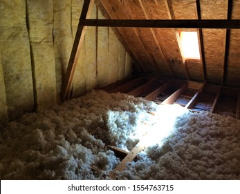 Blown Insulation Attic Floor Home Construction Corner View