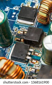 Blown MOSFET transistor  on a computer motherboard