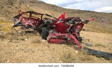 Blown Up Red Car
