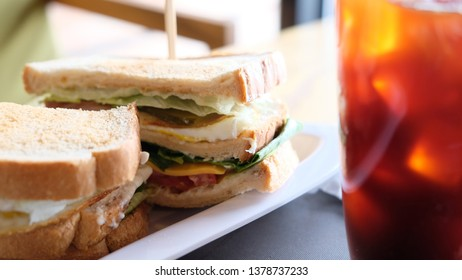 BLT sandwich with coffee