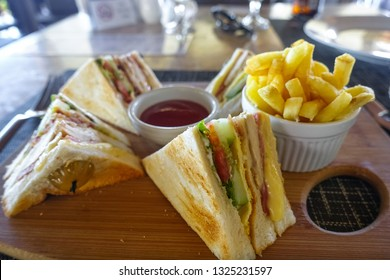 BLT Sandwich and French Fries at Restaurant in Panglao, Philippines