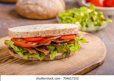BLT sandwich with lettuce, delish healthy bread