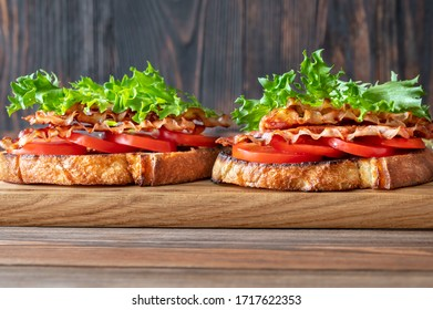 BLT sandwiches with bacon, lettuce and tomatoes