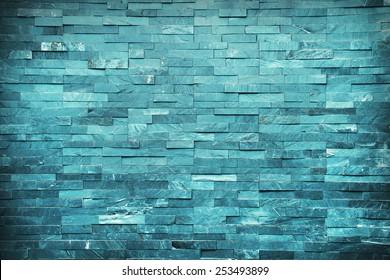 Blu bricks marble wall