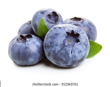 Bluberry fruit with green leaves isolated on white background