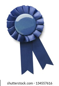 Blue 1ST place award ribbon isolated on a white background.