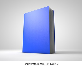 Blue 3D book on a white background