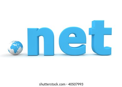blue 3D globe with top-level domain net in blue - tiny globe replaces the dot