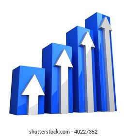 Blue 3D Graph with white arrows on white background