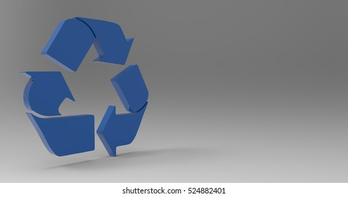 Blue 3D Illustration Of A Recycle Sign Symbol On A Light Masked Transparent Background