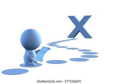 blue 3d person reading a treasure map to reach a big X (3D illustration, isolated on a white background)