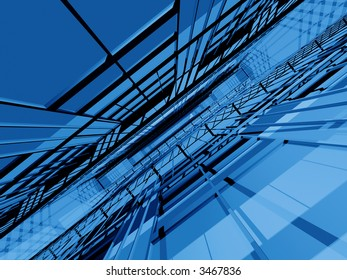 Blue 3d spatial structure in dynamic perspective