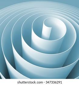 Blue 3d spiral, square abstract digital illustration, background pattern