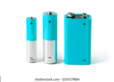 Blue AAA, AA and PP3 batteries, isolated on white background