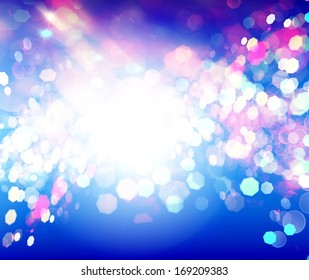 Blue Abstract Backdrop with Lights.Party Night.Holiday.