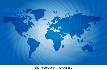 blue abstract background with map of world