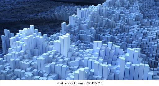 blue Abstract box Technology Background, 3d Rendering