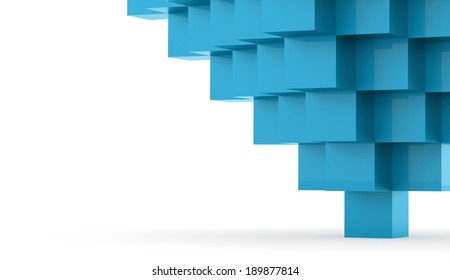Blue abstract business cubes concept rendered
