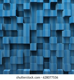 blue abstract cubes, 3d illustration