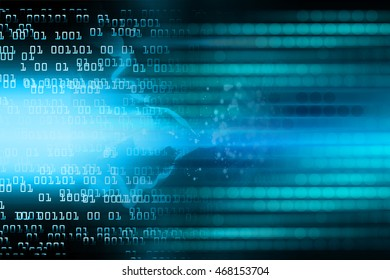 blue abstract cyber future technology concept background, illustration, circuit, binary code. move motion speed. sci-fi