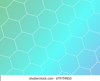 Blue abstract geometric background with hexagon shapes. Template brochure design