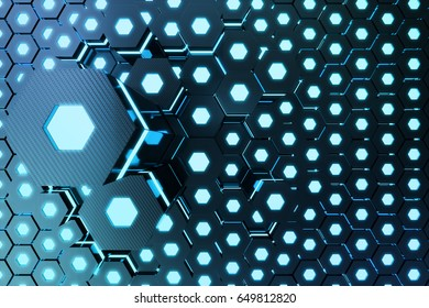 Blue abstract hexagonal glowing background, futuristic concept, 3D rendering