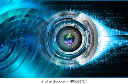 Blue abstract hi speed internet technology background illustration. eye scan virus computer