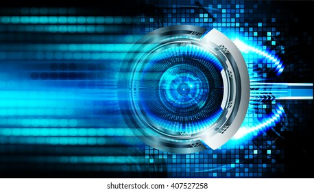 Blue abstract hi speed internet technology background illustration. eye scan virus computer. motion move