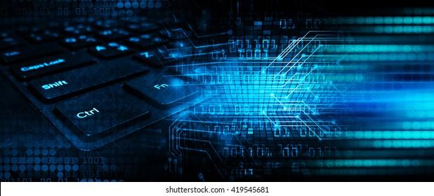 Blue abstract hi speed internet technology background illustration. eye scan virus computer. motion move. Spark.