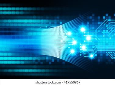 Blue abstract hi speed internet technology background illustration. eye scan virus computer. motion move. Spark