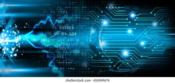blue abstract light hi speed internet technology background illustration, Background conceptual image of digital. eye scan virus computer. motion move graphic. bolt, thunderbolt, shaft